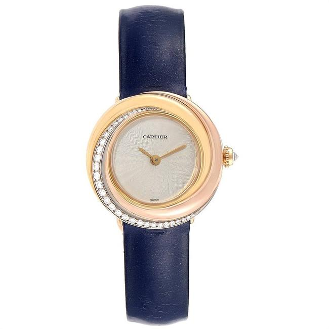 Item - Ivory 18k Yellow Gold and 18k Rose Gold Diamond and Leather Trinity Wg200151 Women's Wristwatch 26.9mm Watch