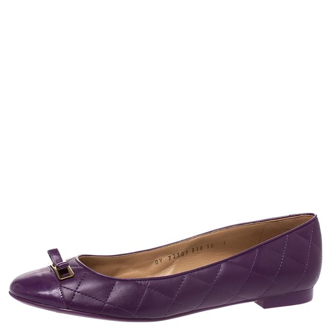 Item - Purple Quilted Leather Bow Ballet Size 40.5 Flats