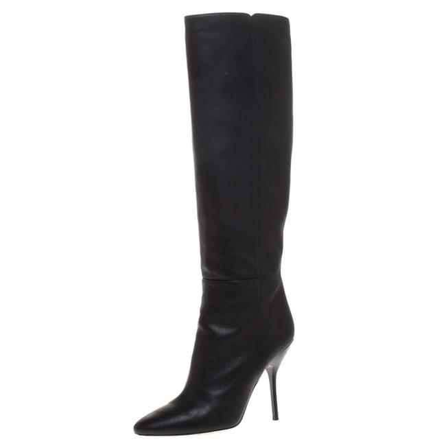 Item - Black Leather Drape Knee Length Size 37.5 Boots/Booties