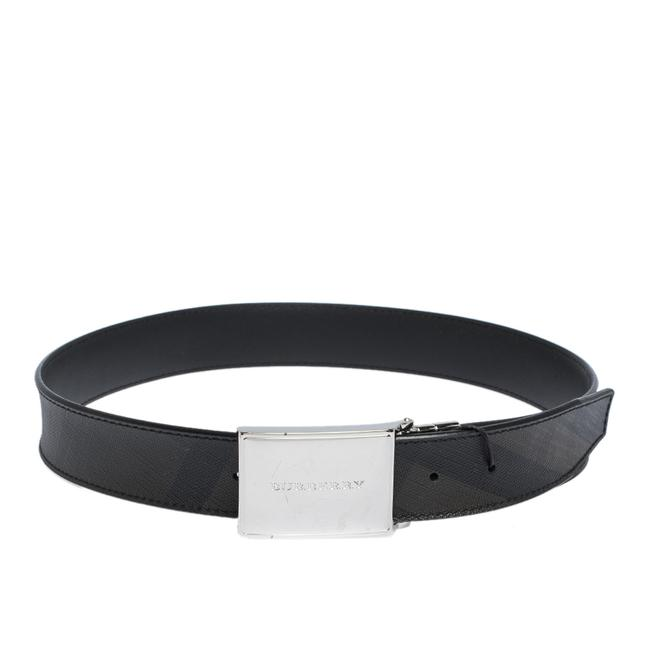 Item - Grey Smoked Check Coated Canvas Charles 35 80cm Belt