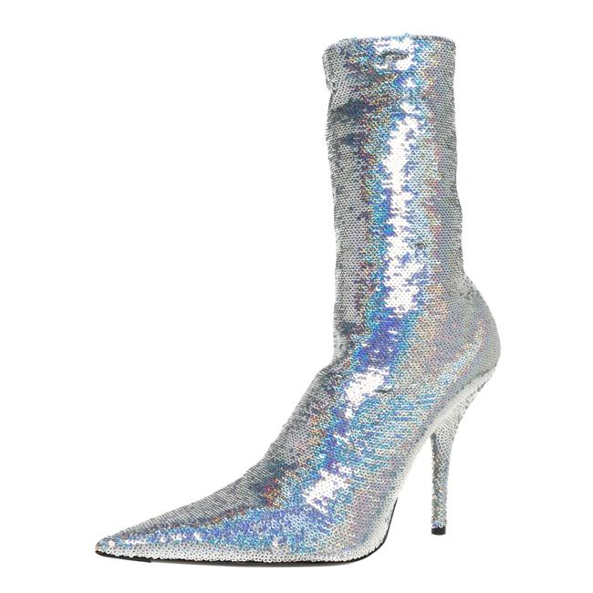 Item - Metallic Silver Sequin Knife Mid Length Size 36 Boots/Booties