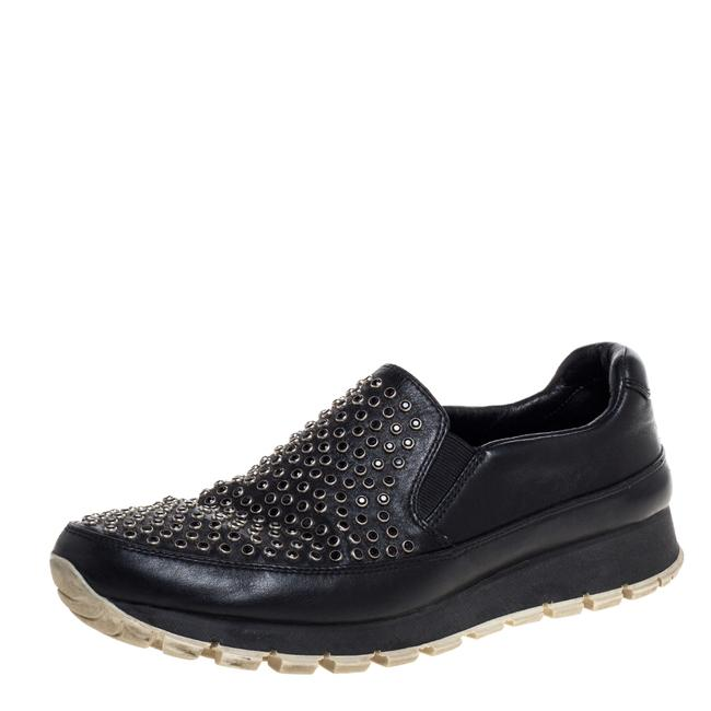 Item - Black Leather Studded Slip On Sneakers Size 37 Athletic