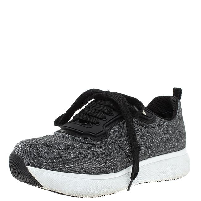 Item - Grey Shimmery Knit Fabric Low Top Sneakers Size 38.5 Athletic