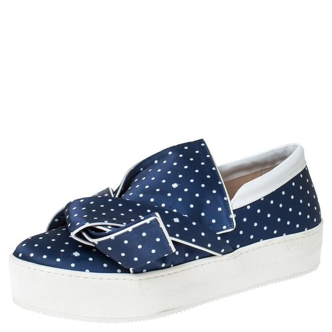 Item - N21 Blue Polka Dot Satin Knotted Slip On Sneakers Size 38.5 Athletic
