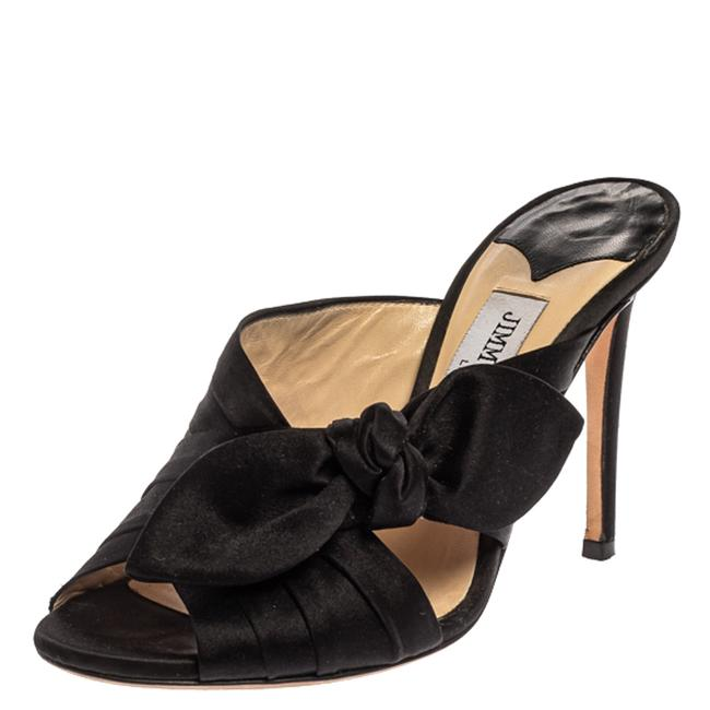 Jimmy Choo Black Satin Keely Knotted Bow Peep Size 35 Slides Jimmy Choo Black Satin Keely Knotted Bow Peep Size 35 Slides Image 1