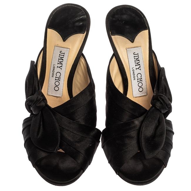 Jimmy Choo Black Satin Keely Knotted Bow Peep Size 35 Slides Jimmy Choo Black Satin Keely Knotted Bow Peep Size 35 Slides Image 3