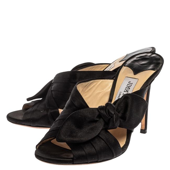 Jimmy Choo Black Satin Keely Knotted Bow Peep Size 35 Slides Jimmy Choo Black Satin Keely Knotted Bow Peep Size 35 Slides Image 4