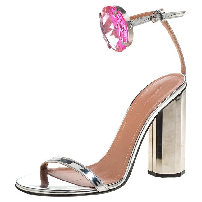 Item - Metallic Silver Leather Chunky Jewel Embellished Ankle Strap Size 37 Sandals