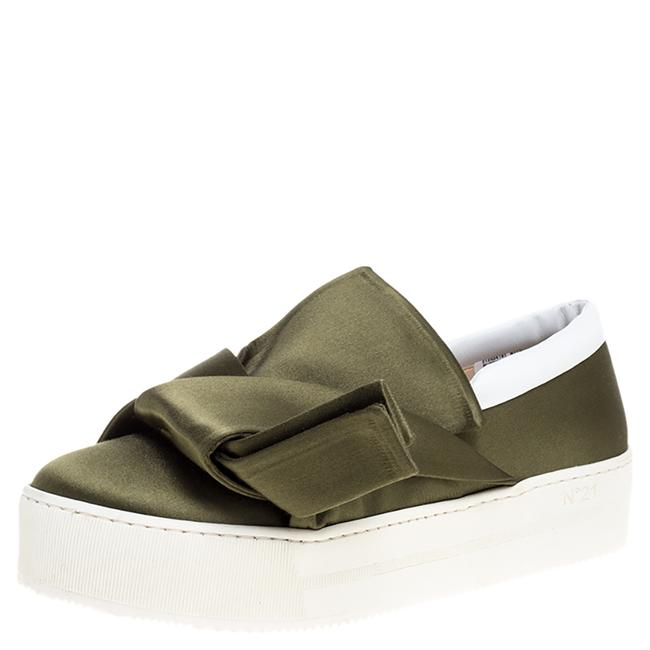 Item - N21 Green Satin Knotted Slip On Sneakers Size 38 Athletic