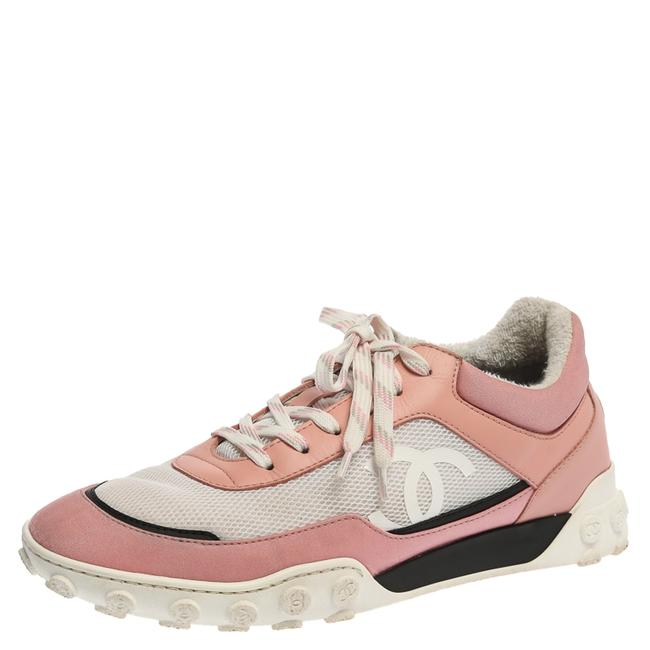 Item - Pink/White Mesh and Leather Cc Low Top Sneakers Size 40.5 Athletic