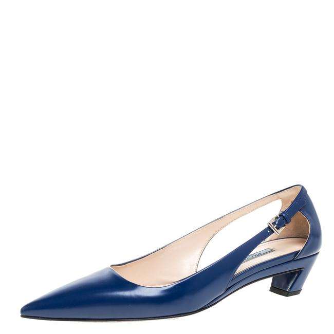 Item - Blue Leather Kitten Heel Pointed Size 40 Pumps