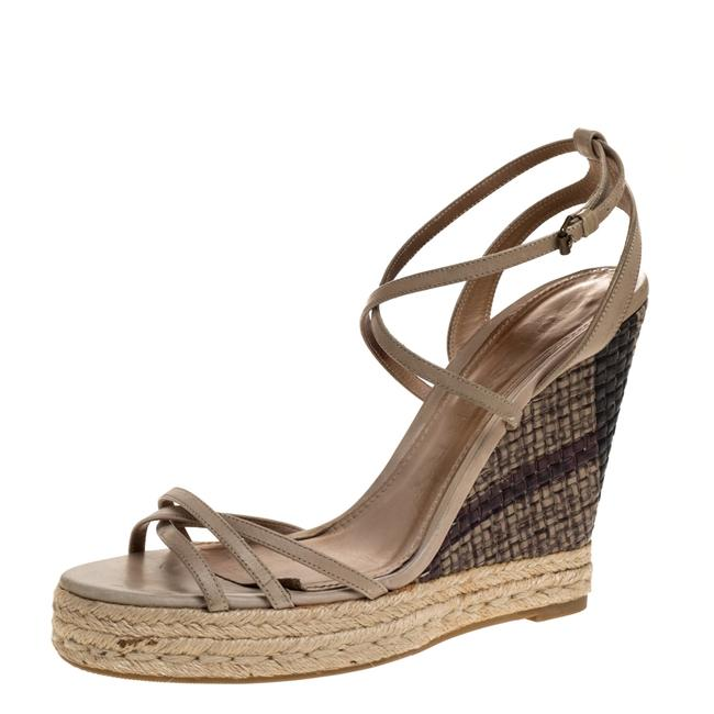 Item - Pale Green Strappy Leather Woven Wedge Espadrille Size 39 Sandals