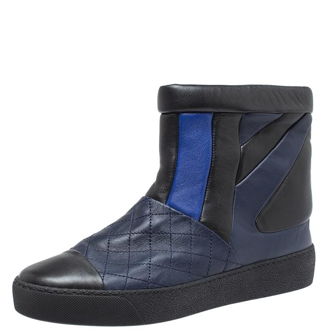 Item - Black/Blue Leather Snow Ankle Size 40 Boots/Booties