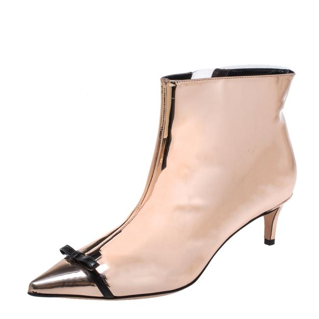 Item - Metallic Rose Gold Bow Pointed Toe Ankle Size 37 Boots/Booties