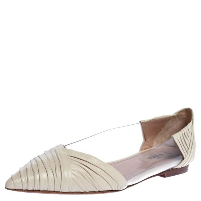 Item - Garavani White Pvc and Pleated Leather Pointed Toe Ballet Size 39.5 Flats