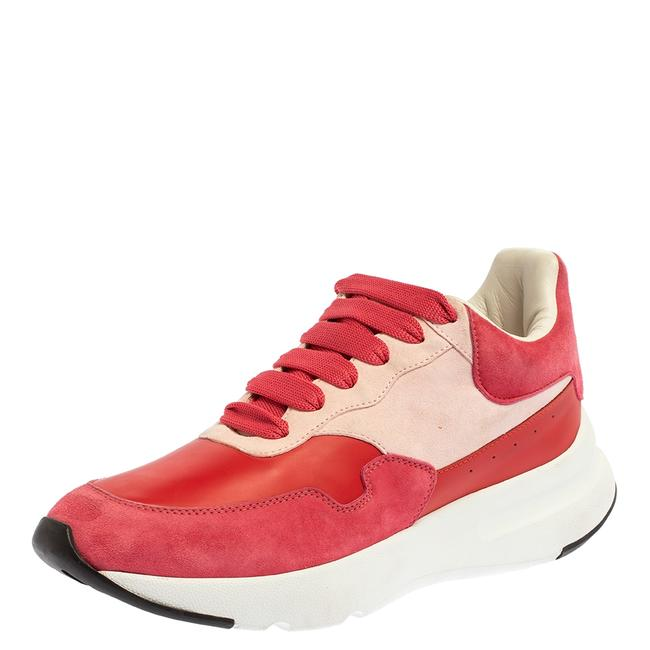 Item - Red/Pink Suede Leather Low Top Sneakers Size 40 Athletic