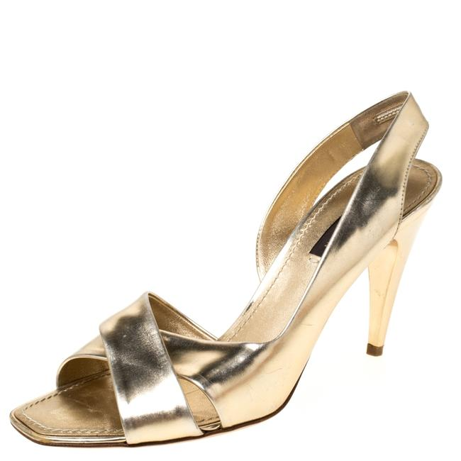 Item - Gold Patent Leather Barbara Criss Cross Slingback Size 36.5 Sandals
