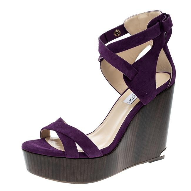 Item - Purple Suede Naomi Cross Strap Bow Detail Wedge Size 41 Sandals