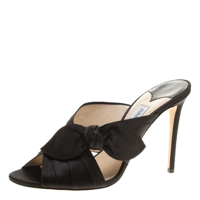Jimmy Choo Black Satin Keely Knotted Bow Peep Size 40 Slides Jimmy Choo Black Satin Keely Knotted Bow Peep Size 40 Slides Image 1