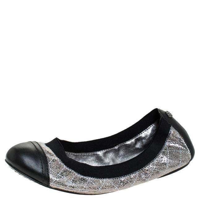 Item - Silver/Black Quilted Leather Garter Ballet Size 36 Flats