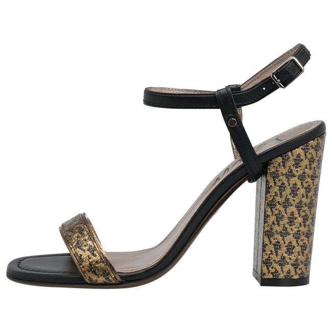 Item - Black/Gold Fabric and Leather Ankle Strap Block Size 38 Sandals