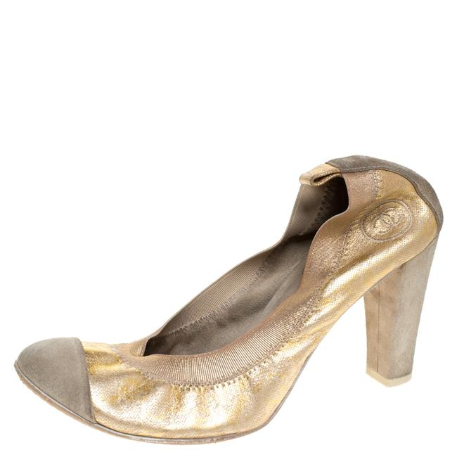 Item - Gold/Grey Textured Leather and Suede Cap Toe Scrunch Size 37 Pumps
