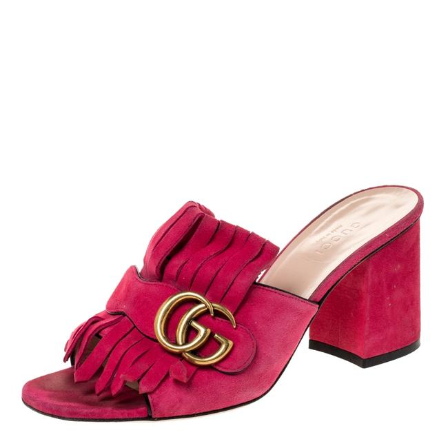 Item - Marmont Pink Suede Leather Gg Fringe Detail Open Size 37 Sandals