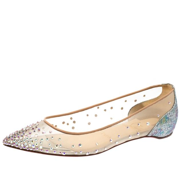 Item - Beige Mesh and Lame Fabric Follies Strass Pointed Toe Ballet Size 36.5 Flats