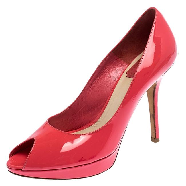 Item - Coral Pink Patent Leather Miss Peep Toe Platform Size 38.5 Pumps