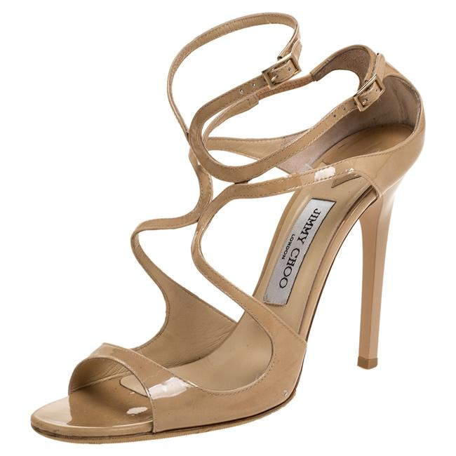 Jimmy Choo Beige Patent Leather Lance Ankle Strap Size 39 Sandals Jimmy Choo Beige Patent Leather Lance Ankle Strap Size 39 Sandals Image 1