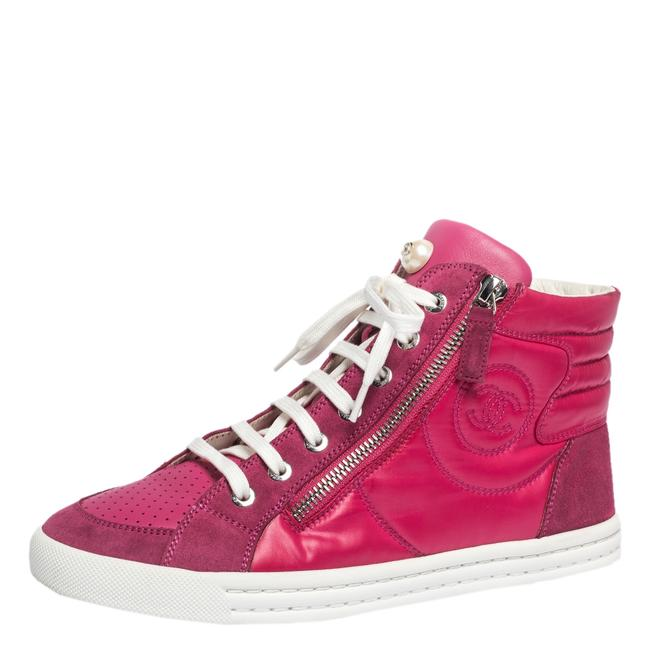 Item - Pink Leather Suede and Nylon Cc Pearl Double Zipper High Top Sneakers Size 37 Athletic