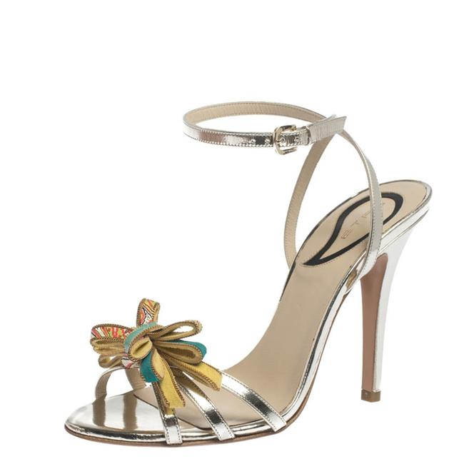 Item - Metallic Gold Leather Bow Slingback Ankle Wrap Size 37 Sandals