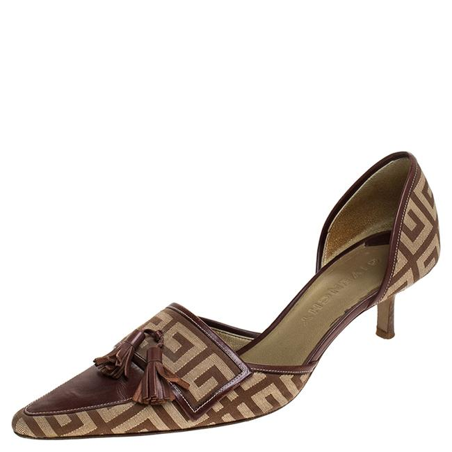 Item - Beige/Brown Canvas and Leather Tassels D'orsay Size 37.5 Pumps