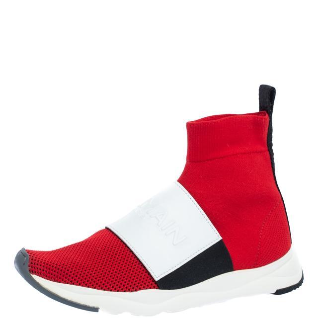 Item - Red/White Stretch Knit and Leather Embossed Logo High Top Sneakers Size 36.5 Athletic