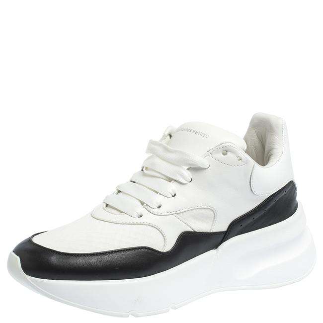 Item - White/Black Leather and Mesh Oversized Runner Low Top Sneakers Size 38.5 Athletic