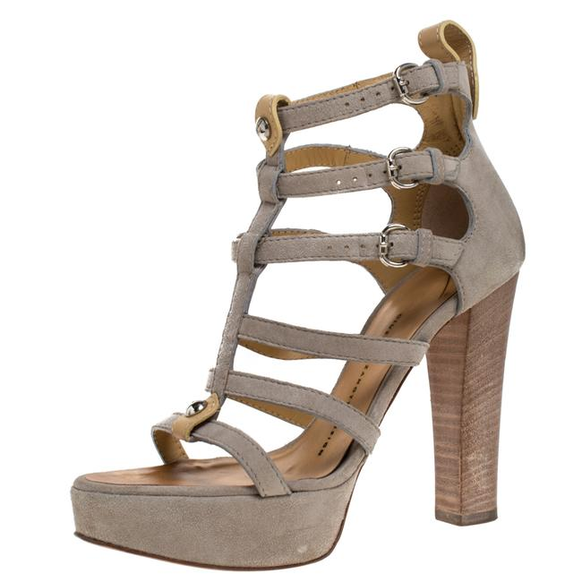 Item - Grey Suede and Tan Leather Strappy Platform Size 36 Sandals