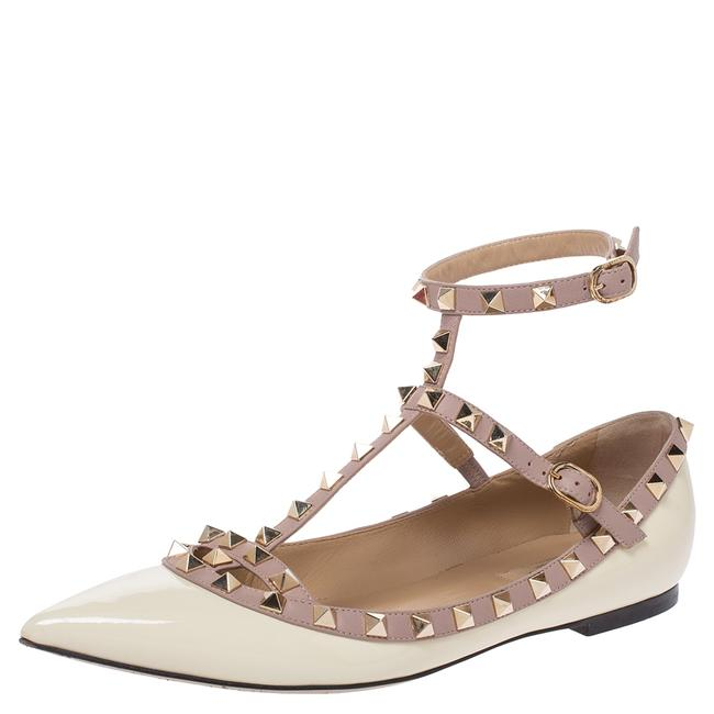 Item - White Patent Leather Rockstud Strappy Ballet Size 39 Flats