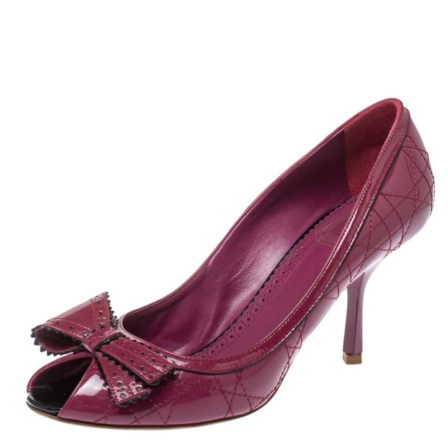 Item - Fuchsia Cannage Patent Leather Bow Peep Size 40 Pumps
