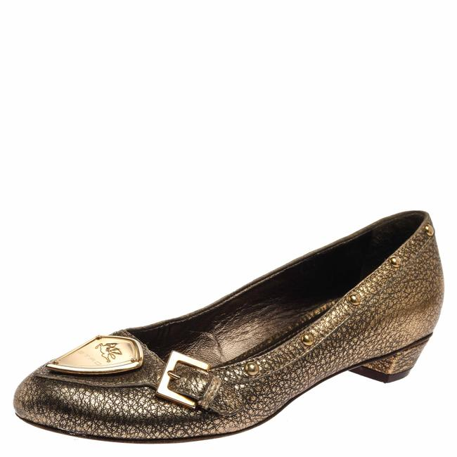 Item - Metallic Gold Leather Buckle Detail Studded Size 38 Flats