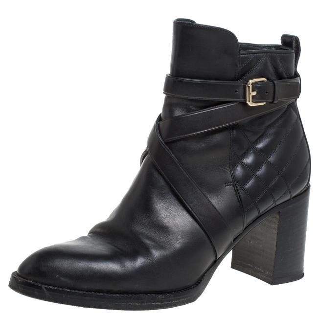Item - Black Quilted Leather Buckle Ankle Size 40 Boots/Booties