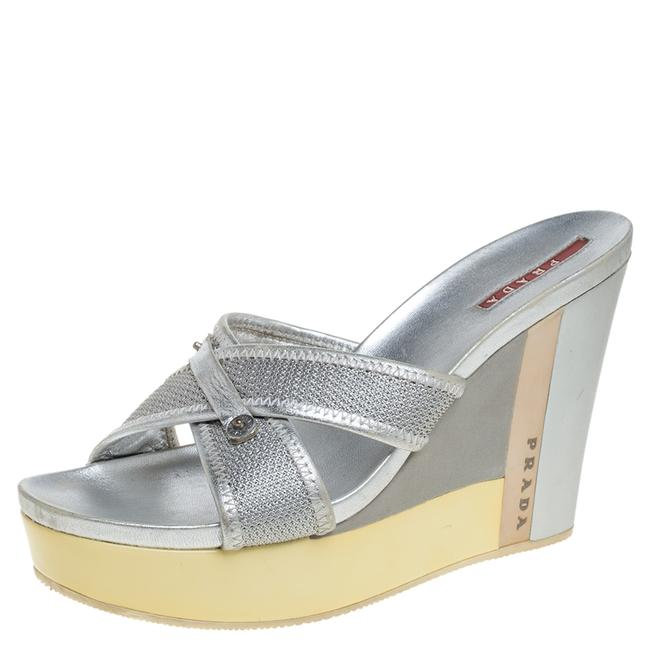Item - Silver Mesh and Leather Trim Cross Strap Wedge Platform Size 39 Sandals