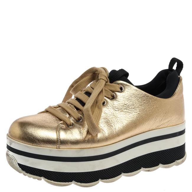 Item - Metallic Gold Leather Lace Up Platform Sneakers Size 36 Athletic
