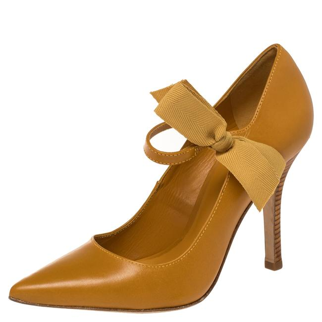 Item - Mustard Leather Mary Jane Bow Size 38 Pumps
