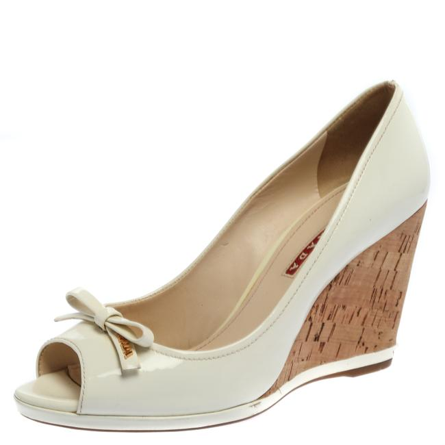 Item - White Patent Leather Bow Peep Toe Cork Wedge Size 38 Pumps
