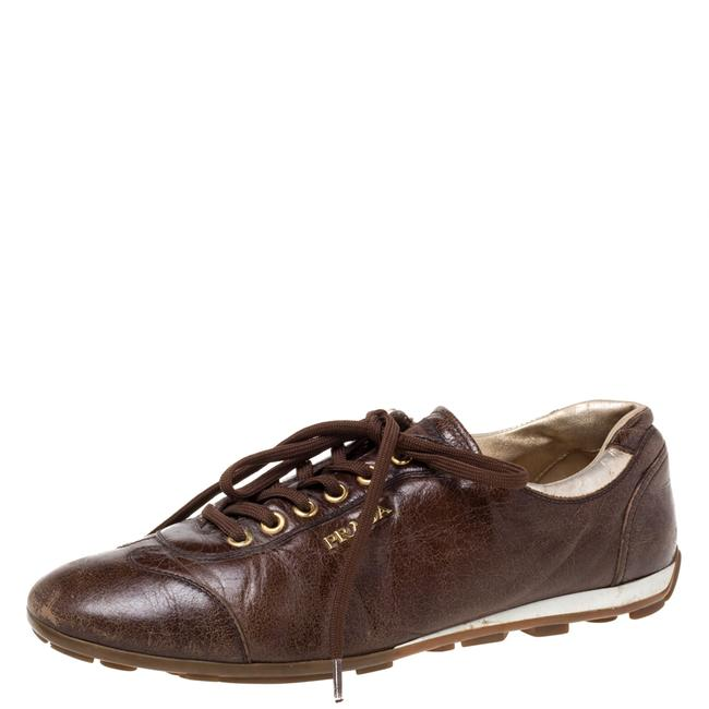 Item - Brown Leather Lace Low Top Sneakers Size 38 Athletic