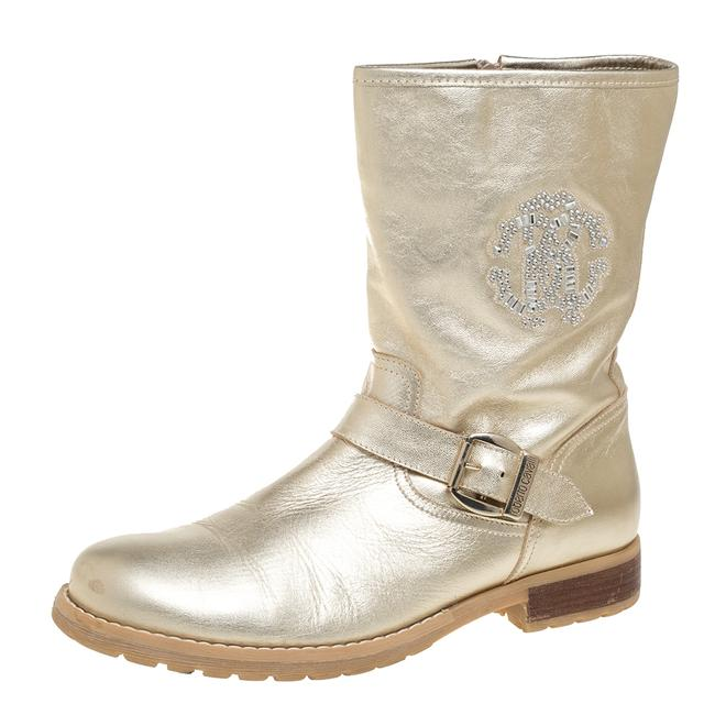 Item - Gold Leather Logo Embellished Buckle Detail Ankle Length Size 38 Boots/Booties