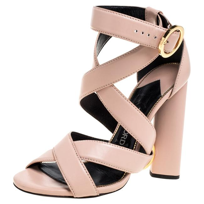 Item - Blush Pink Leather Ring Ankle-wrap Block Size 36 Sandals