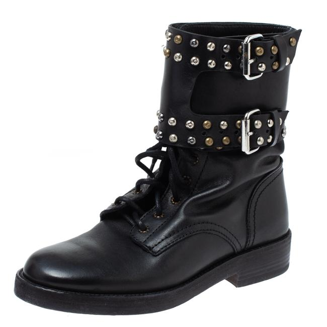Item - Black Leather Teylon Studded Ankle Size 35 Boots/Booties