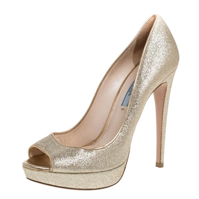 Item - Gold Glitter Peep Toe Platform Size 38 Pumps