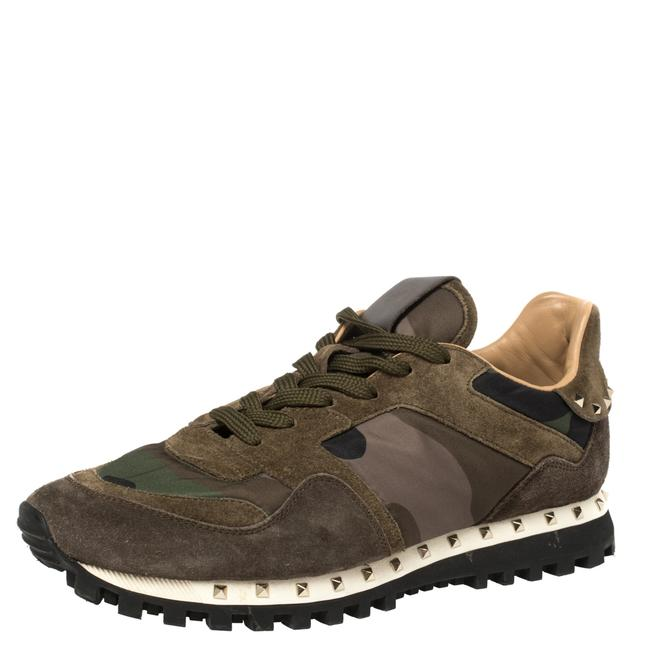 Item - Military Green Camouflage Nylon and Suede Rockrunner Sneakers Size 39.5 Athletic